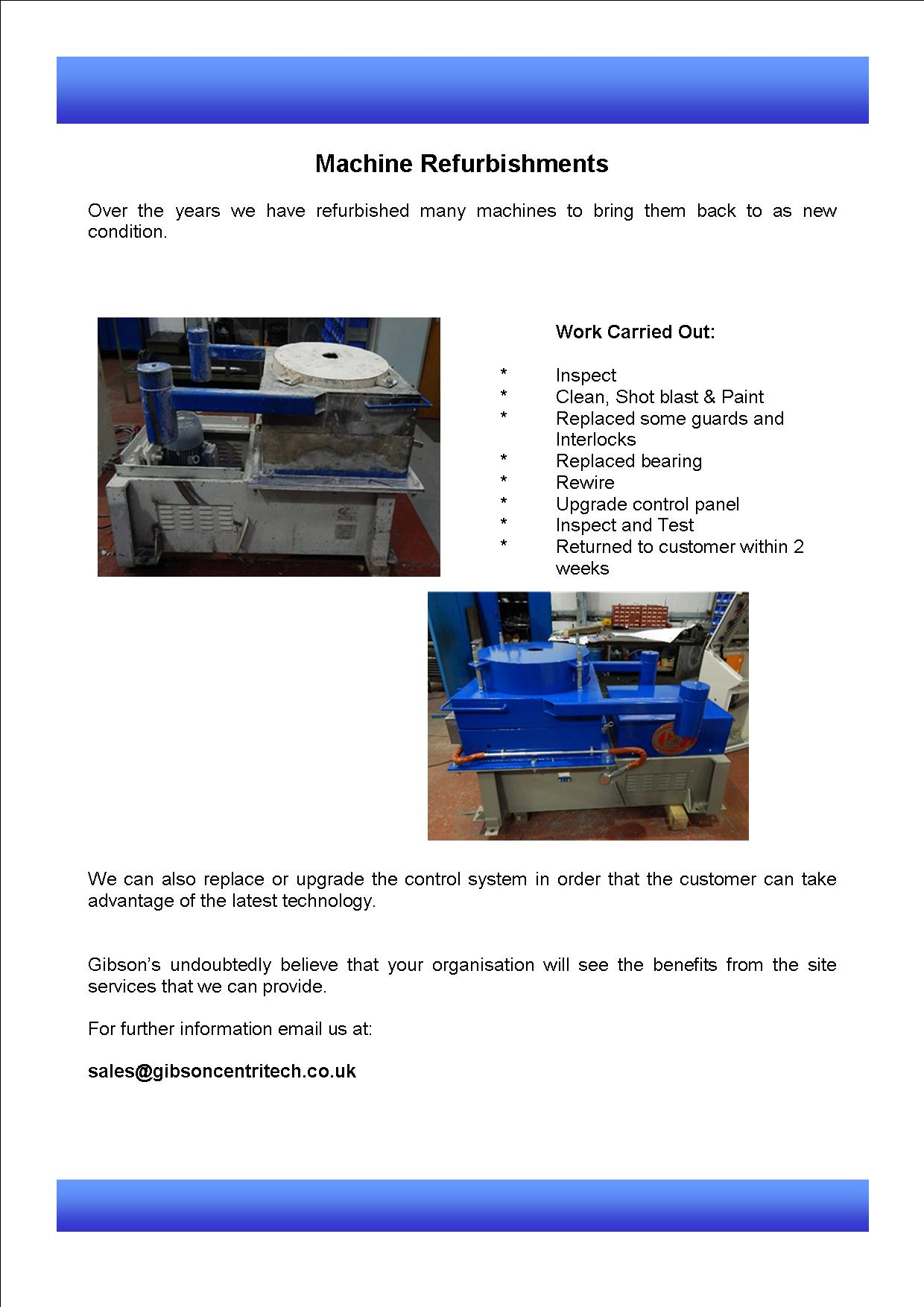 Machine Refurbishments
